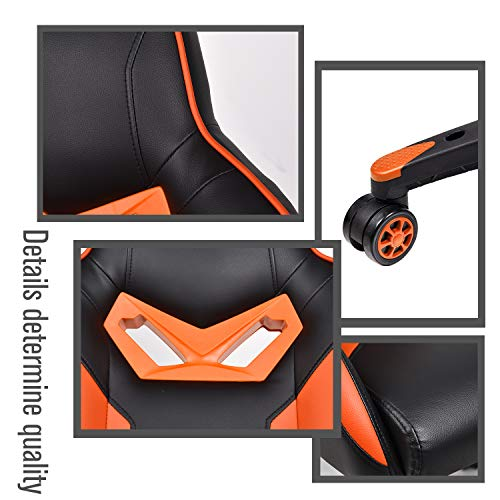 ELECWISH Ergonomic Computer Gaming Chair, PU Leather High Back Office Racing Chairs with Widen Thicken Seat and Retractable Footrest and Lumbar Support, Large (Orange2)