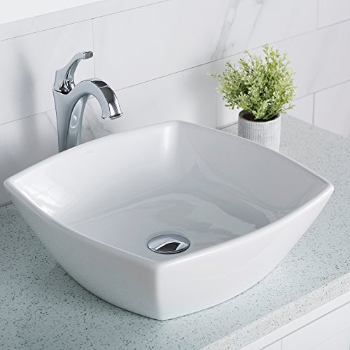 Kraus KCV-126 Ceramic Above counter Square Bathroom Sink, 16.5 x 16.5 x 6.6 inches, White ()