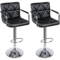 SONGMICS Adjustable Bar Stools with Arms and Back PU Swivel Barstool Chairs, Set of 2, ULJB93B