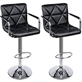 Swivel Bar Stools with Backs SONGMICS Adjustable Bar Stools with Arms and Back Leather Swivel Barstool Chairs, Set of 2, ULJB93B