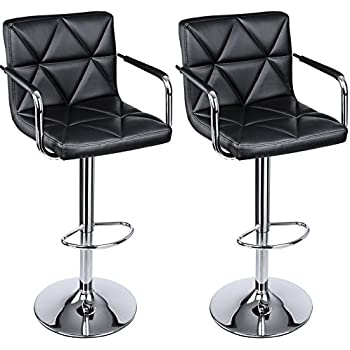 Amazon Com Songmics Adjustable Bar Stools With Arms And