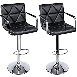 Songmics adjustable bar stools with arms and - Amazon bedroom chairs and stools ...