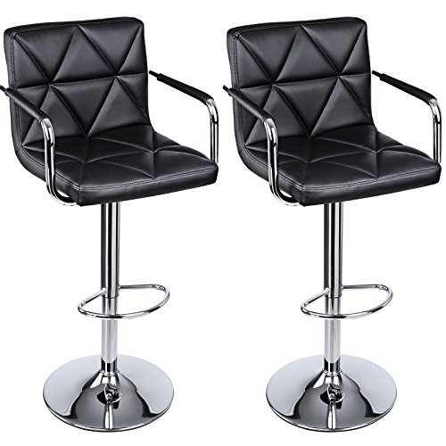 SONGMICS Adjustable Bar Stools with Arms and Back Leather Swivel Barstool Chairs, Set of 2, ULJB93B (Bar Arm)