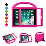 BMOUO Case for New iPad 9.7 2018/2017 with Built-in Screen Protector, Shockproof Lightweight Handle Stand Kids Case for Apple iPad 9.7 Inch 2018/2017/iPad Air/iPad Air 2/iPad Pro, Rose