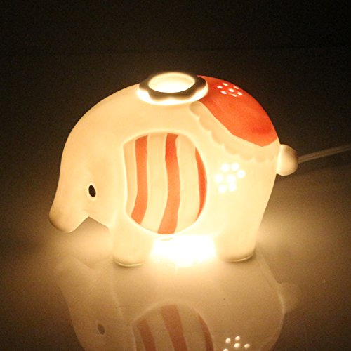 Gift Prod Elephant Ceramic Electronic Candle/Oil Warmer Tart Burner Night Light Aroma Decorative Lamp with Knob Type Switch, Aroma Air Purifier, Scent Decorative Lamp (Style 47)