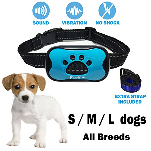 Citronella Water - No Bark Dog Collar Small Medium Large All Breeds 2018 Anti-Bark Control Deterrent Pet Safe & Humane Train Device Automatic Sound Vibration No Harm Static Shock Water Repellent Any Weather Condition