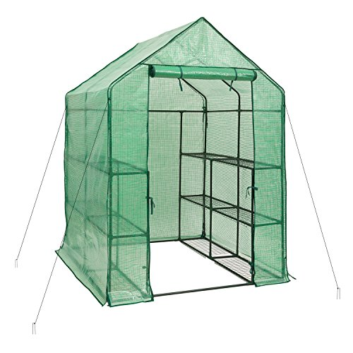 DOEWORKS Walk-in Plant Greenhouse with PE Cover, 3-Tier 12-Shelf Garden House for Outdoor, 54.7″x 55.9″x 77.1″