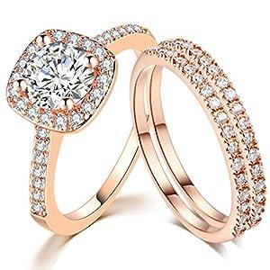 SDT Jewelry Three-in-One Bridal Wedding Engagement Anniversary Statement Eternity Ring Set