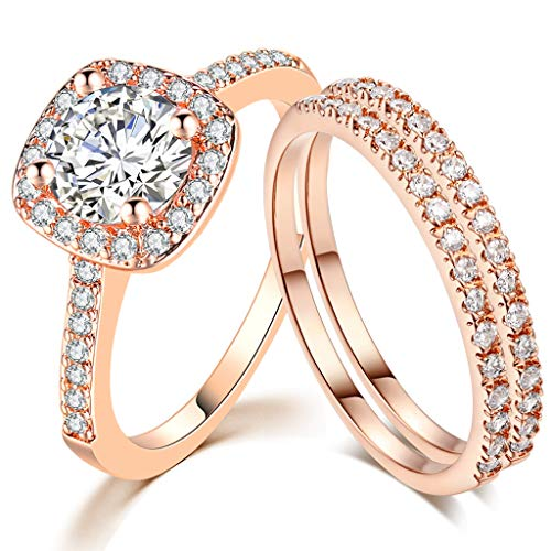 SDT Jewelry Three-in-One Bridal Wedding Engagement Anniversary Statement Eternity Ring Set (Rose Gold, 7) from SDT Jewelry