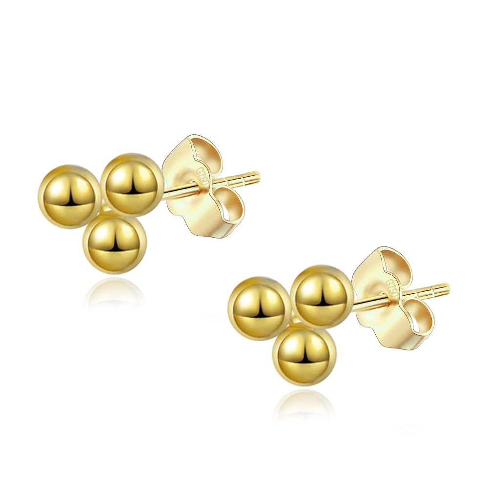 14K Gold Plated Dainty Tiny Bar Delta Stud Earrings Trio Ball Ball