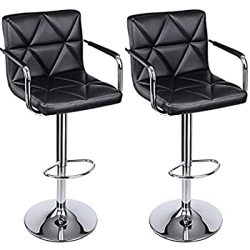 SONGMICS Adjustable Bar Stools with Arms and Back Leather Swivel Barstool Chairs, Set of 2, ULJB93B