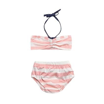0be1aea50a2c 2Pcs Conjunto de Bikini bebé Bañador niña de Verano Traje de baño de Rayas  Chicas Conjuntos Bikini Bañadores Bodies Ropa de Playa 3 Mes - 3 Años ...