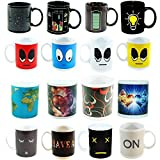 heat changing mugs - 4 Heat Sensitive Color Changing Coffee Mugs, 11 OZ - Awesome Designs Appear With Heat - Funny, Unique Novelty Mug Is A Great Present for Coffee Lovers - Sturdy Ceramic and Long-Lasting Decorations