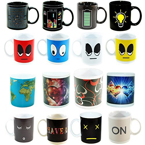 4 Heat Sensitive Color Changing Coffee Mugs, 11 OZ - Awesome Designs Appear With Heat - Funny, Unique Novelty Mug Is A Great Present for Coffee Lovers - Sturdy Ceramic and Long-Lasting Decorations