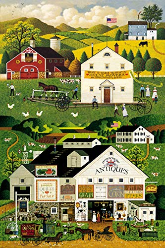 Country Quilt Fabric - Town & Country Panel by Charles Wysocki from Northcott 100% Cotton Quilt Fabric 21976 74