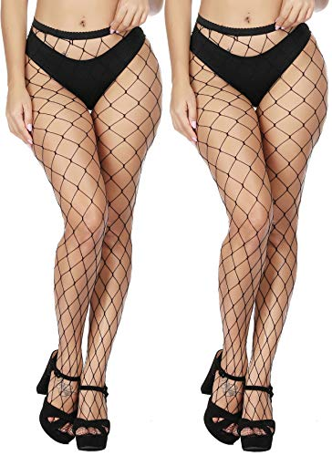 HZH Women's Sexy High Waist Tights Fishnet Stockings Thigh High Stockings Pantyhose (Black,Large Gride/2pcs)
