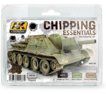 Chipping Essentials Weathering Acrylic Paint Set (4 Colors) 17ml Bottles AK Interactive