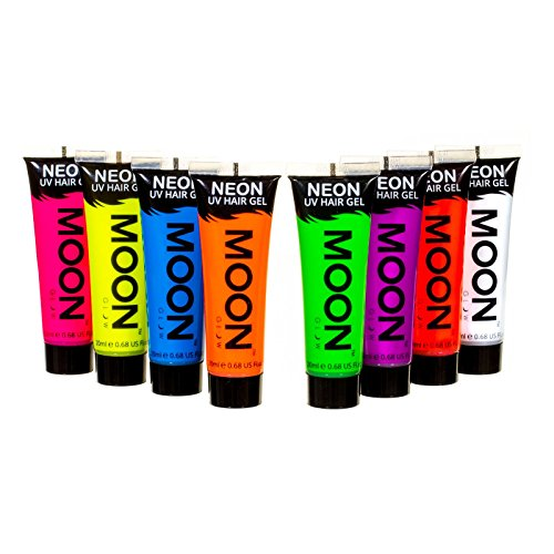 Moon Glow - Blacklight Neon UV Hair Gel - 0.67oz Set of 8 tu