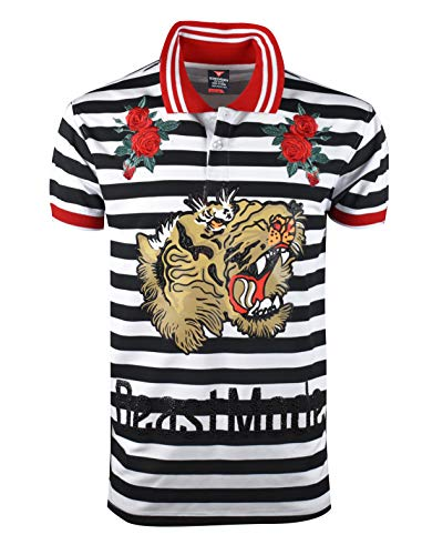 SCREENSHOTBRAND-S11865 Hip-Hop Premium Tees - Stylish High Density Roaring Tiger Rubber Print Rose Flower Embroidery Polo -White-XLarge