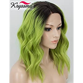 K'ryssma Ombre Green Lace Front Wigs Short Bob Synthetic Wigs with Dark Roots Wavy Lace Wig for Women