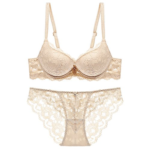HUABAN Women Underwire Push Up Sexy Hollow Embroidery Lace Bra Panty Lingerie Set Nude