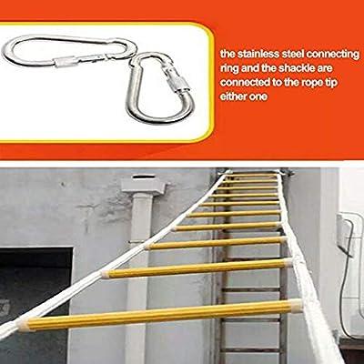 WEIFENG Escalera de Cuerda de Escape de Incendio Escalera Blanda - con anzuelos- fácil de implementar y Simple de Usar-Capacidad de Peso de hasta 330 Libras (10 m / 32 pies): Amazon.es: Jardín