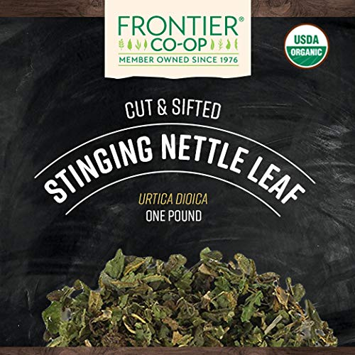 Frontier Co-op Nettle, Stinging Leaf, Cut Sifted, Certified Organic, Kosher, Non-irradiated 1 lb. Bulk Bag Sustainably Grown Urtica dioica L.