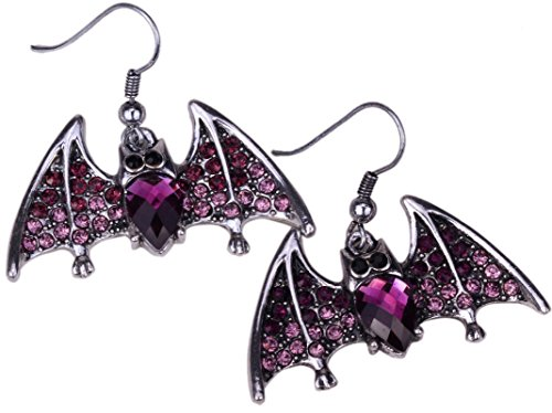 Bat Crystal Dangle Earrings