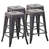 Mimo Life B-61-Gun Metal NEW 24 Stools Tolix Style Backless Indoor Outdoor Counter Height Stackable Bar Chairs(Set of 4)