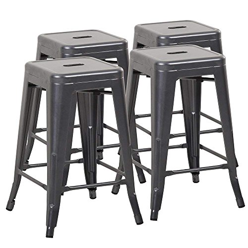 Mimo Life B-61-Gun Metal NEW 24 Stools Tolix Style Backless Indoor Outdoor Counter Height Stackable Bar Chairs(Set of 4) by Mimo Life (Image #7)