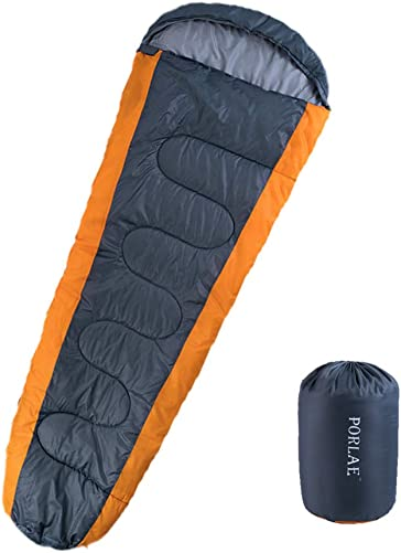 PORLAE Camping Sleeping Bag Envelope Lightweight Portable Waterproof Comfort with Compression Sack Great for Traveling Hiking and Outdoor Activities Single