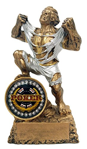 Resin Award Plaque (Poker Monster Trophy Texas Hold Em Award Hulk Victory trophies - Engraved Plates by Request - Perfect Poker Award Trophy - Hand Painted Design - Made by Heavy Resin Casting - Decade Awards)