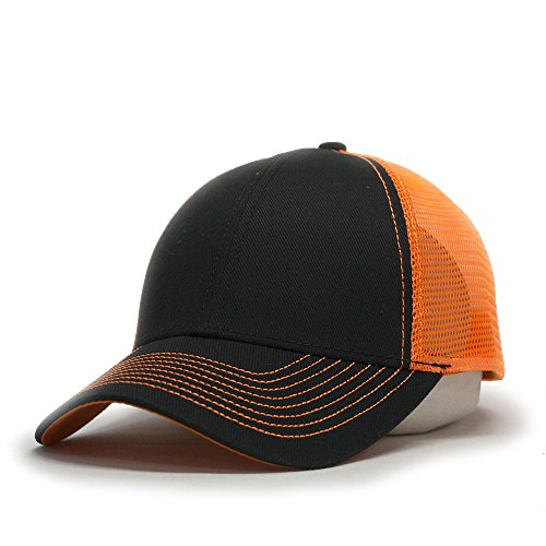 Vintage Year Plain Two Tone Cotton Twill Mesh Adjustable Trucker Baseball Cap (Black/Neon Orange)