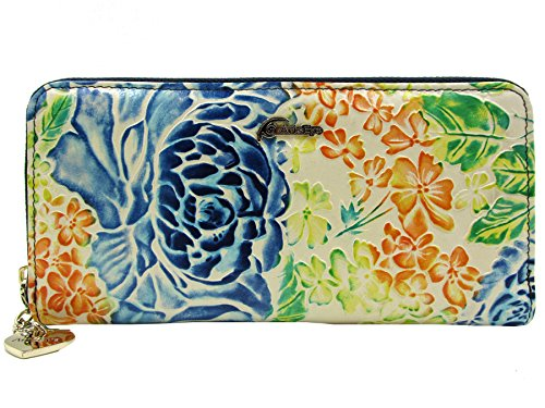 Italian Leather Clutch Wallet (ArtsEye Peony Collection Embossed Genuine Leather Zipper Wallet (Blue))