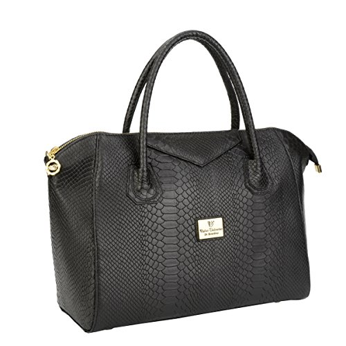WALTER VALENTINO - exclusive, italienische, handgefertigte Echtledertasche mit Prägung - 34x27x18 cm, Schwarz 6249WV-300