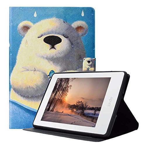 Case for Kindle Paperwhite 3/2/1, [Magnetic Buckle] Slim Fit Leather Stand Wallet Cover, Smart Shell Auto Wake & Sleep for Kindle Paperwhite (Fits All 2012,2013,2015 and 2016 Model), Polar Bear by Billionn