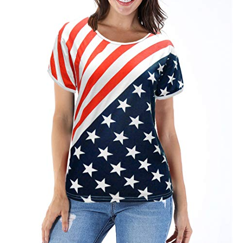Women Striped Stars Tees USA Shirt American Flag T-Shirt Short Sleeve 4th of July Tops Red X-Large