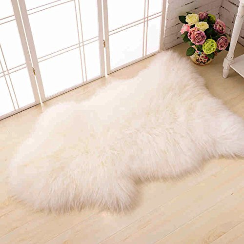 HAOCOO Nordic Style Premium Faux Sheepskin Rug Carpet with Super Fluffy Thick Fur, Fits Perfectly in Living Room / Bed Room or as a Couch Decor. Approx. 2ft. x 3ft. (Ivory White)