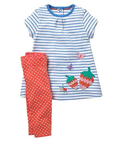 Girls Short Set Printed Strip Short Sleeve Outfit Set Tops & Pants 2pcs Summer Clothing Set ()