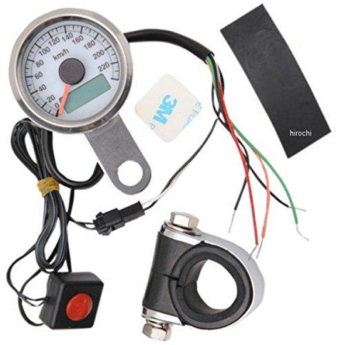 DRAG 1.87インチ(47mm) 電子スピードメーター、オド/トリップメーター付き(240km/h) ポリッシュ/白 2210-0325   B01LYBZ3T6