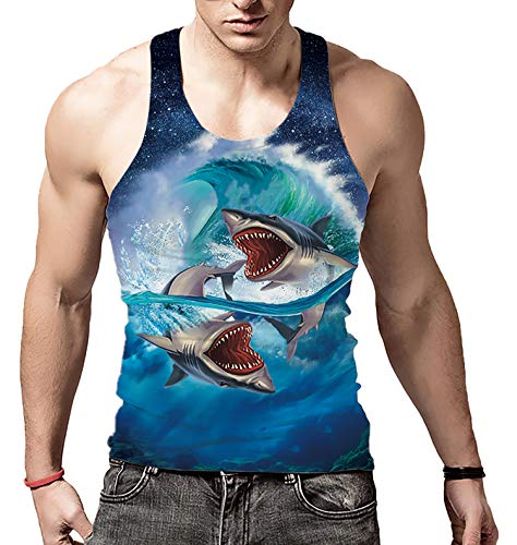 Boys Realistic Vivid Pattern Tank Tops Sea Wave Refreshing Cool Summer Polyester Wife-Beater for Journey Biker(Shark,S) (Singlet Pattern)