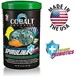 Cobalt Aquatics Spirulina Fish Food Flakes with Probiotics