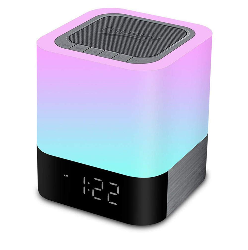 Aisuo Night Light - 5 in 1 Lamp with Bluetooth Speaker, 4000mAh Battery & 12/24H Digital Calendar Alarm Clock, Touch Control & Color Dimmable, Support TF and SD Card, Ideal Gift for Kids, Friends.