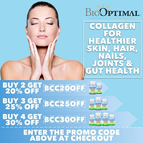 51Z01lc2rZL - BioOptimal Collagen Pills - Collagen Supplements, Grass Fed, 180 Capsules, Non-GMO, for Women & Men, Benefits Skin, Hair, Nails & Joints, Collagen Capsules, Premium Quality