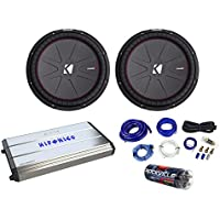 2 Kicker 43CWR154 CompR 15 2400w Car Subwoofers+Hifonics Amp+Capacitor+Wire Kit