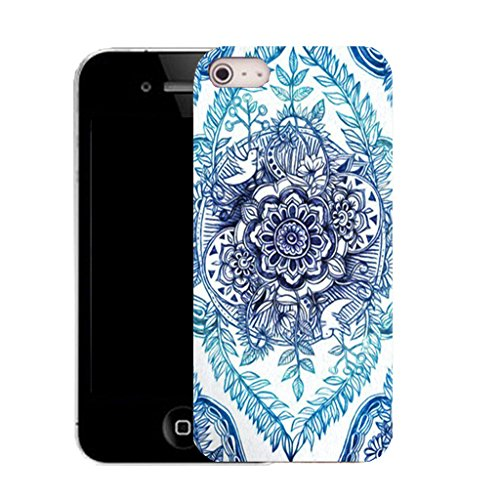 Mobile Case Mate IPhone 5 clip on Silicone Coque couverture case cover Pare-chocs + STYLET - blue delighted floral pattern (SILICON)