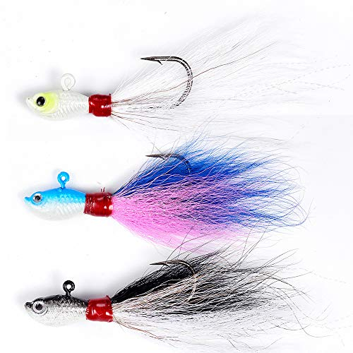 Dr.Fish Assorted 3 Saltwater Bucktail Jigs Fluke Lure Saltwater Baits Kit Striper Bluefish Surf Fishing Shore White Black, Bule Pink, White 1oz