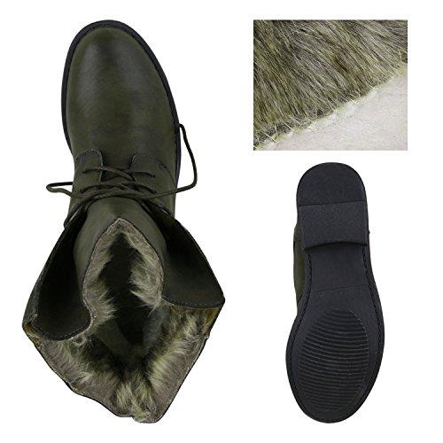 Damen Schuhe Worker Boots Warm gefüttert mit Blockabsatz Flandell Dunkelgrün