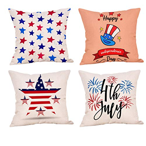 Makaor_Home United States Pillow Cover - Striped Stars American Flag Independence Fourth of July Theme Décor - A Decorative 4 Pieces Bedding Pillow Case Cushion Cover - 18x18 Inch