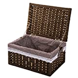 Storage Basket, Storage Basket With Lid, Rattan Desktop Storage Box, Toy Dirty Clothes Storage Box (Size : Medium)